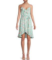 socialite women's floral wrap dress - aqua coral combo - size xs