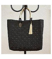 leather accented plastic tote, 'ebony pattern' (mexico)