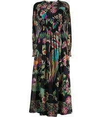 redvalentino long sleeve forest print dress - black