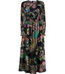 redvalentino long sleeve forest print dress - black