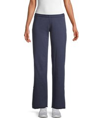hard tail women's embroidered-star cotton pants - stormy blue - size l