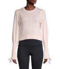 525 america women's cropped tie-sleeve sweater - chalk - size l