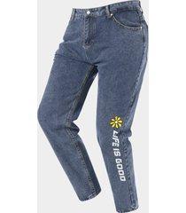 hombres moda carta estampado floral casual loose jeans