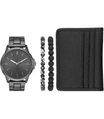 folio men's gunmetal stainless steel bracelet watch 44mm gift set