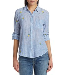charli floral embroidered stripe button-down shirt