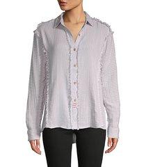 lace-yoke frayed shirt