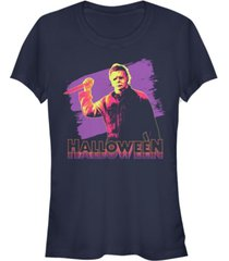 fifth sun halloween 2 women's michael myers retro neon portrait short sleeve tee shirt