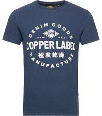 copper label tee t-shirts short-sleeved blå superdry