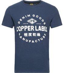 copper label tee t-shirts short-sleeved blå superdry