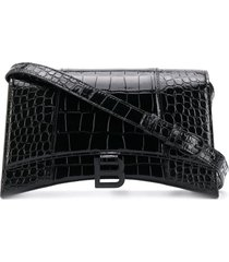 balenciaga hourglass crocodile-effect sling shoulder bag - black