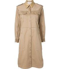 ports 1961 multi-pocket military shirt dress - brown