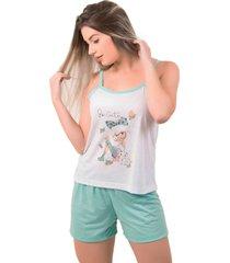 pijama bella fiore modas short doll estampado juliana verde ãgua - verde - feminino - poliã©ster - dafiti