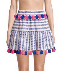 tessora women's morena tassel electric skirt - electric blue on pink - size xs
