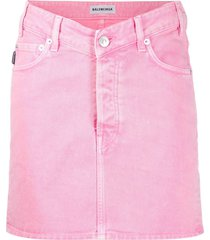 denim v waist mini skirt pink