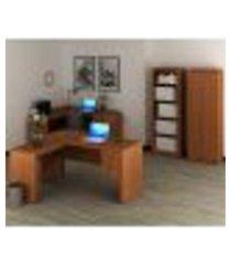 conjunto escritório completo 04 peças cj10 amendoa tecno mobili