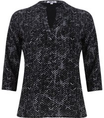 blusa lineas en zig zag color negro, talla l