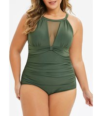 plus size mesh insert cut out one-piece swimsuit