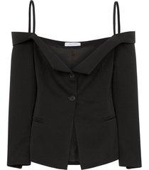delada off-the-shoulder blazer top - black