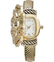 charter club women's gold-tone flip crystal flower bracelet watch 35mm, created for macy's