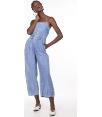 macacao khelf jeans frente unica delave - azul - feminino - dafiti