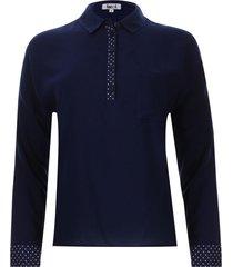 camisa contemporanea color azul, talla 10