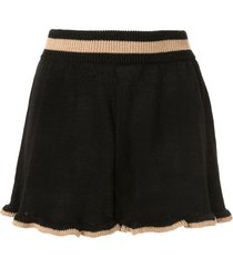 suboo mimi ruffled-knit shorts - black