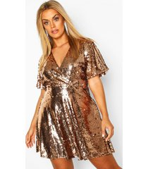 plus sequin wrap sleeve skater dress, gold