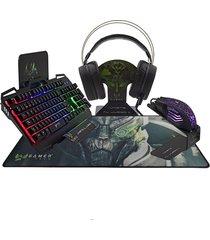 combo teclado, mouse audífonos, ultra gamer tech negro retroiluminado.