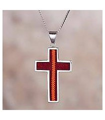 sterling silver and fabric pendant necklace, 'cross of the andes' (peru)