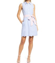 harper rose sleeveless tie waist shirtdress, size 2 in blue at nordstrom