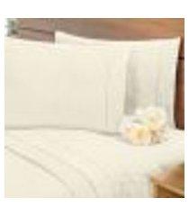 lençol avulso c/ elástico percal 400 fios cama queen palha