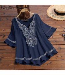 zanzea camisa de dobladillo asimétrico de manga corta para mujer camiseta blusa étnica tallas grandes -azul marino