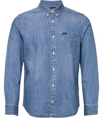lee button down overhemd casual blauw lee jeans