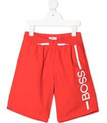 boss kidswear logo-print drawstring swim shorts - red