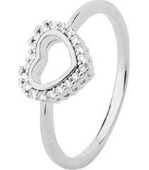 anel coração vazado cravejado cristais banhado a ródio branco