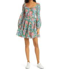 women's rixo roxy long sleeve floral tier minidress, size small - pink