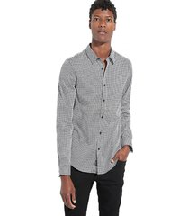 camisa ls luxe geo waves shirt negro guess