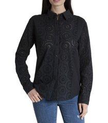 blusa mujer acacia algodón orgánico negro rockford
