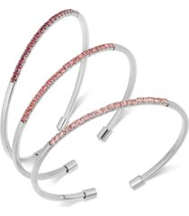 inc silver-tone 3-pc. set pave thin cuff bracelets, created for macy's