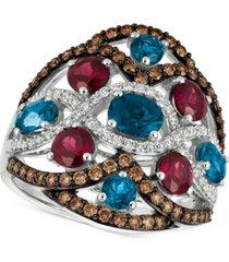 le vian blue topaz, raspberry rhodolite garnet and diamond (3-1/6 ct. t.w.) ring in 14k white gold, created for macy's