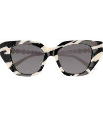 gucci gucci gg0641s black & ivory sunglasses