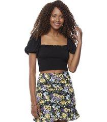 blusa crop panal manga larga globo negro mujer corona