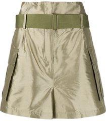 erika cavallini high-waisted silk shorts - green