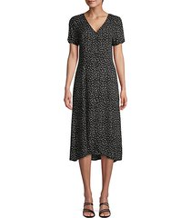 printed high-low button-front dress