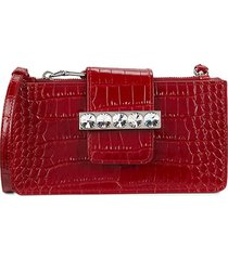 miu miu women's croc-embossed leather wallet-on-chain - fuoco red