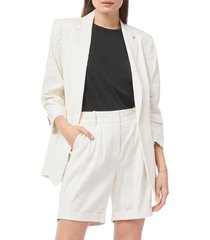 women's frame pleat sleeve linen blend boyfriend blazer, size medium - blue