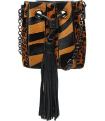 grace tiger-print haircalf drawstring bag - o/s sandstone multi printed haircalf