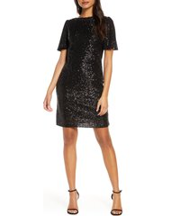forest lily sequin flutter sleeve shift dress, size x-small in black at nordstrom