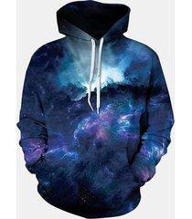 magliette casuali delle nebulose della galassia della stampa del unisex di hoodie delle coppie variopinte di modo del mens
