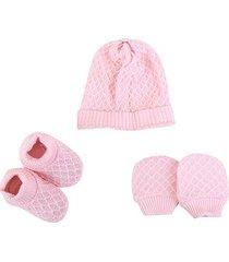 kit bebê pimpolho gorro, luva & sapato jacquard feminino